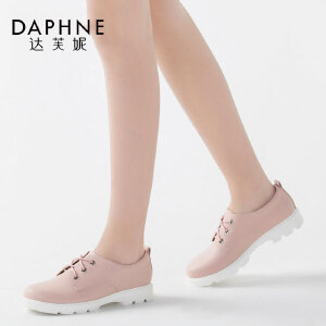 Daphne/达芙妮英伦简约圆头系带低跟深口单鞋
