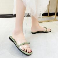 拖鞋女夏外穿时尚新款韩版百搭ins一字拖平底透明网红凉拖鞋