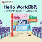 #Hello World 系列4册 纸板取材别出心裁图画精美多个数字勾勒形状生动、鲜活的城市图片0-6岁
