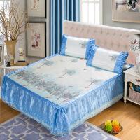 家纺2018可脱卸蕾丝床裙款印花冰丝凉席可折叠床上用品三件套-