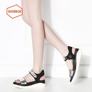 达芙妮旗下鞋柜shoebox/苹绮夏季厚底女平底舒适反光面简约魔术贴中跟凉鞋松糕鞋
