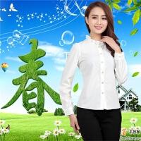2015春装新款女士衬衫韩版长袖荷叶花边手工串珠雪纺女打底衫