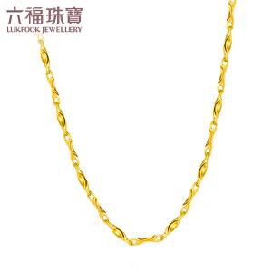 六福珠宝黄金项链百搭款元宝造型足金项链女素链 B01TBGN0006