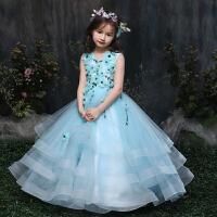 儿童礼服亲子装女童公主蓬蓬裙花朵演出生日连衣裙子