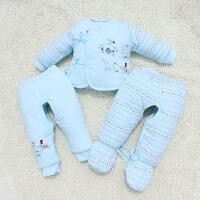 婴儿三件套新生儿棉衣棉袄宝宝套装外套秋冬季加厚冬装衣服