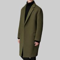 秋冬韩版加厚羊绒大衣男士 中长款宽松毛呢外套呢子大衣 男 黑色(加棉) S