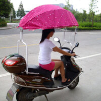 摩托电动车遮阳伞自行车雨棚电瓶车折叠伞踏板车挡风西瓜伞蓬加厚 +2张2.2米全