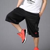 过膝嘻哈夏季薄款五分裤运动裤加肥加大码宽松七分裤男士篮球短裤