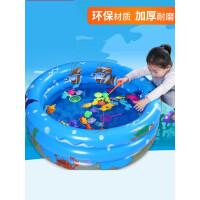 儿童钓鱼玩具池套装小孩戏水宝宝磁性鱼竿1-3岁男女益智小猫钓鱼u9f