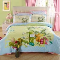 四件套棉被套床上用品简约三件套1.8m夏季床单被套网红被单 桔色 小镇情怀