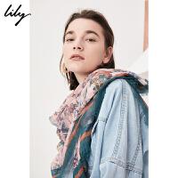 ily2018秋新款女装时尚OL印花大方巾莫兰迪色方巾118110AZ439