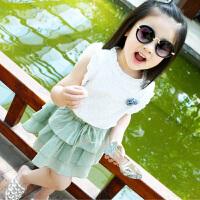 童装女童裙子套装宝宝T恤短裙儿童2件套夏季小孩衣服潮