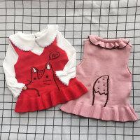 女童马甲春秋新款韩版宝宝针织公主裙摆背心裙小女孩时尚毛线外套