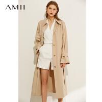 Amii极简时尚气质风衣2021年新款宽松长款外套女过膝流行薄款大衣