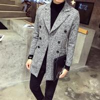 秋冬季风衣男韩版修身中长款男士大衣青年英伦呢子外套男潮流衣服