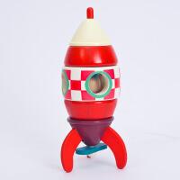木制拆装 飞机火箭直升机模型 儿童磁性拆装玩具 红色火箭