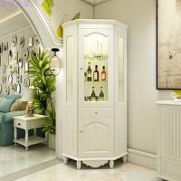 角柜韩式墙角柜三角柜子转角柜客厅储物柜拐角木置物架欧式酒柜 象牙白 组装