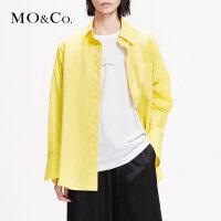 MOCO2019春设计小众白色长袖百搭假两件宽松衬衫MAI1SHT004摩安珂
