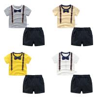 男童夏装短裤子套装婴儿短袖t恤1岁3个月9宝宝衣服