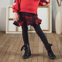 2018冬季韩版童装新款女童加绒打底裤格子假裙裤加厚中大童长