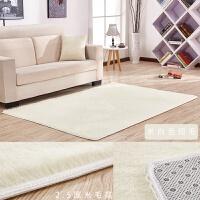 地毯卧室可爱满铺长方形床边榻榻米飘窗阳台加厚防滑简约客厅地垫 米白色 短毛 2米x4米 送心+脚垫