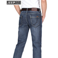 JEEP吉普牛仔裤男经典五袋款男士直筒修身牛仔长裤子春夏薄款微弹牛仔裤