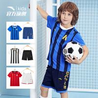 安踏童装 男童足球服套装2019夏季新款儿童夏装速干短袖运动套装