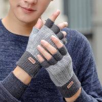 手套男冬季韩版针织保暖防寒毛线半指冬天学生半截加厚骑行手套