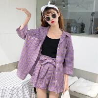 韩版时尚休闲套装夏装女装五分袖格子防晒衬衫+阔腿短裤两件套潮