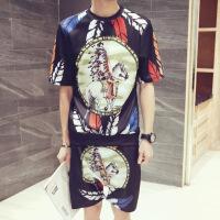潮流个性短袖帅气夏季T恤套装五分短裤男装一套韩版薄款衣服夏天