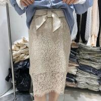 韩国ulzzang2018春装新款高腰蝴蝶结系带半身裙蕾丝中长裙修身女