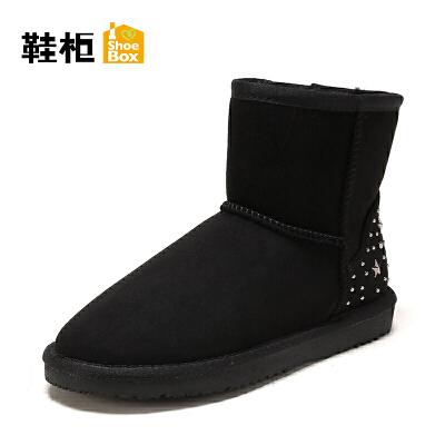 【限时2件2折】shoebox鞋柜雪地靴 冬新款星星铆钉加绒加厚平底短靴