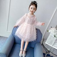 女童公主裙春装女孩长袖纱裙蛋糕裙子儿童连衣裙