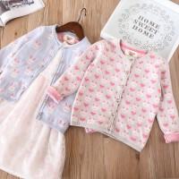 女童小兔子双层针织开衫 儿童宝宝柔软爱心外套 2018春装新款