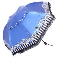 天堂伞33127E条纹蝴蝶黑胶丝印拼蕾丝边三折蘑菇铅笔晴雨伞