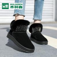 木林森2019冬季新款舒适加绒保暖时尚潮流百搭女士棉鞋雪地靴女鞋