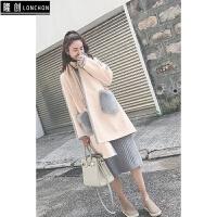 秋冬新款韩版毛呢外套女拼接中长款气质大方撞色双面呢子大衣女 米白色