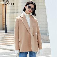 【到手价:408元】Amii极简欧美风时尚潮腰带毛呢外套女2018冬新宽松翻领中长款大衣