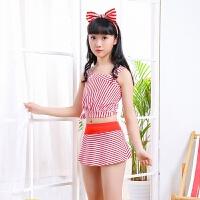 新款儿童泳衣女孩分体裙式游泳衣中大童女童可爱少女韩版宝宝泳装