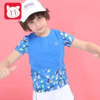 小猪班纳童装男童短袖t恤中大童2018夏季新款儿童体恤男孩上衣