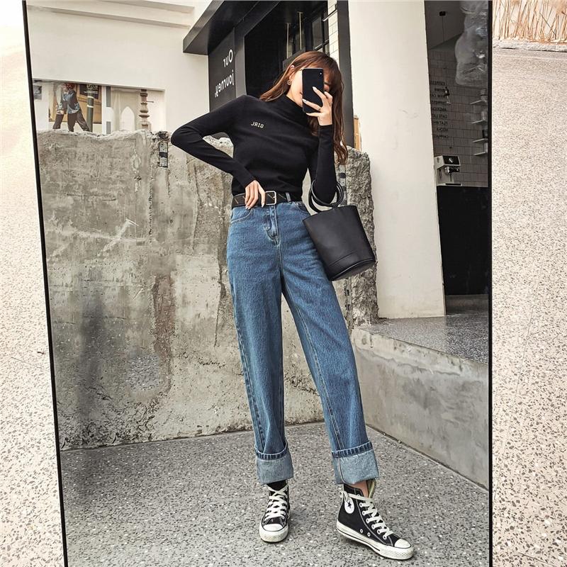 七格格牛仔裤女直筒宽松长裤2019新款冬季显瘦阔腿裤高腰垂感裤子
