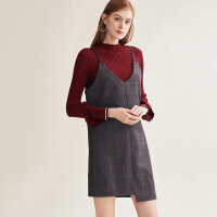 红袖/HOPESHOW不对称格纹吊带呢子连衣裙