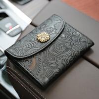 复古压花真皮钱包女式小卡包零钱夹名片包软牛皮硬币包驾驶证包
