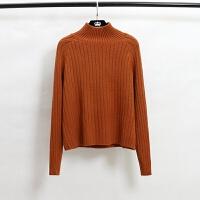 韩版秋冬气质宽松百搭高领毛衣女套头纯色加厚短款长袖打底针织衫 均码