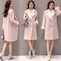 毛呢外套女秋冬新款韩版翻领系带中长款显瘦过膝时尚呢子大衣
