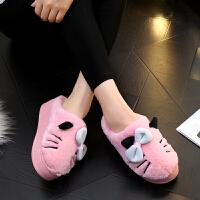 棉拖鞋女居家室内厚底冬季保暖月子鞋蝴蝶结家居拖鞋家用高跟棉拖