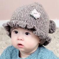 宝宝帽子秋冬季韩版女孩公主毛线帽3-6-12个月婴儿帽冬天男童帽潮
