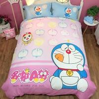 棉哆啦A梦卡通三四件套叮当猫棉儿童被套床单床笠床上用品男