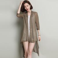 清凉夏季薄款开衫中长款时尚版型女士针织开衫前短后长不规则开衫 军绿