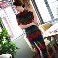 年春季新款 长款蕾丝旗袍中袖改良时尚修身唐梦语旗袍厂家直 50